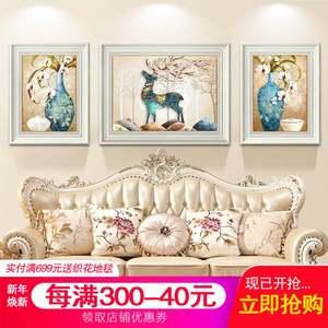 美式三联客厅沙发背景<span class=H>墙面</span>装饰画轻奢餐厅壁画挂画画发财鹿