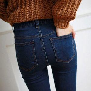后拉链高腰提臀紧身裤<span class=H>长裤</span>女性感纯色毛边小脚高弹修身<span class=H>铅笔</span>裤
