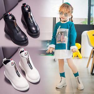 女童靴子2019新款秋冬儿童马丁靴女孩春秋单靴高帮皮鞋英伦风短靴