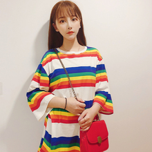 Alice Home Net Red T-shirt with Rainbow Seven-colour T-shirt and Five-minute-sleeve Short-sleeved Chao Brand Loose Spliced Couple Top