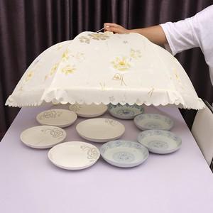 饭桌饭菜罩盖菜罩子防灰尘蚊虫全布餐桌食物罩超大号可折叠遮菜罩