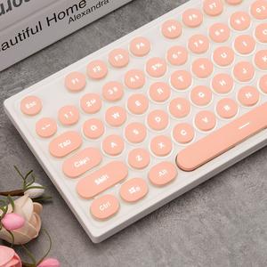 黑爵AK325机械手感<span class=H>键盘</span>背光游戏电脑台式有线女生朋克复古办公笔记本无线可爱粉色真机械手感办公家用静音