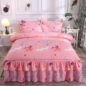 韩式纯棉床裙四件套100%全棉加厚磨毛被套床罩1.5/1.8米床上<span class=H>用品</span>