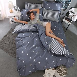纯棉四件套全棉床笠1.8m简约<span class=H>床上</span>用品网红被套床单三件套1.5米床