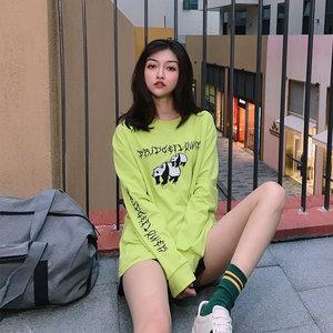 Panda慵懒风超火长款<span class=H>卫衣</span>女夏季无帽薄款超火国潮草木绿t恤