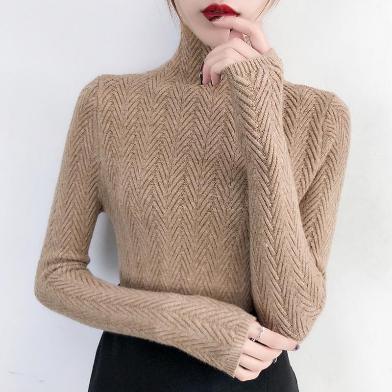 高领毛衣女士打底衫长袖内搭秋冬季2019新款上衣修身紧身针织衫女