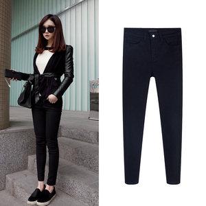黑色加绒<span class=H>牛仔裤</span>女2018新款韩版高腰冬季显瘦外穿加厚小脚铅笔裤女