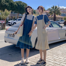 Jeans Belt Skirt Summer 2019 New Girls'Clothes French Crowds Knee Fishtail Dresses Two Loose Suits