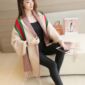 围巾披肩<span class=H>两用</span>女士加厚秋冬季针织斗篷外套带袖子超大双面披风韩版