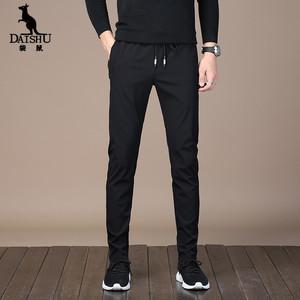 袋鼠夏季薄款男士休闲裤直筒小脚裤修身时尚运动裤速干裤长裤<span class=H>男装</span>