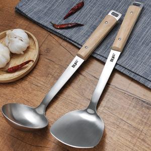 304不锈钢单个<span class=H>锅铲</span>家用炒菜铲子铁炒铲三件套厨房汤勺厨具套装