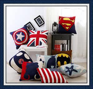 满版针织毛线刺绣工艺抱枕 美国旗 英国旗  <span class=H>靠垫</span> 美国队长 超人