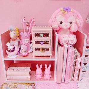 粉色少女心木制置物架 桌面化妆品收纳盒 娃娃收纳展示柜学生书架