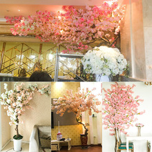 Simulated Cherry Flower Fake Peach Blossom Tree Wedding Bundle Plastic Silk Cherry Blossom Branch Living Room Landing Indoor Decoration