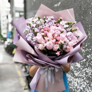 深圳广州鲜花速递同城创意玫瑰绣球桔梗混搭花束生日礼物送花上门