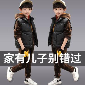 童装男童套装2018新款冬装儿童金丝绒中大童双面加绒<span class=H>卫衣</span>三件套潮