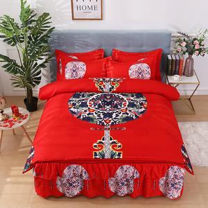 【全尺寸】纯棉刺绣床裙四件套