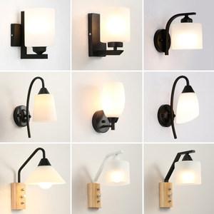 现代简约卧室床头<span class=H>壁灯</span>温馨日式过道灯中式玻璃LED灯北欧酒店灯具