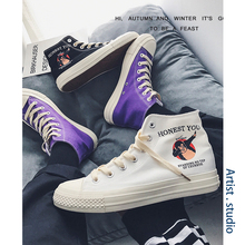 Couple High-Upper Shoes Men's Fashion Canvas Shoes Leisure Korean Plate Shoes Spring Hong Kong Style Hip-Hop Shoes