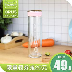opus双层玻璃杯时尚可爱便携水杯子男女士<span class=H>茶杯</span>带盖韩版创意随手杯