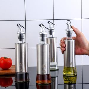 玻璃油瓶不锈钢油壶防漏餐厅调味罐酱油瓶家用醋壶创意 厨房<span class=H>用品</span>