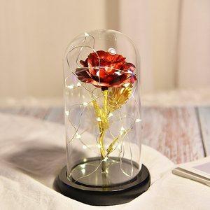 创意家居玻璃罩<span class=H>永生花</span>小夜灯摆件毕业礼物玄关卧室家居装饰品