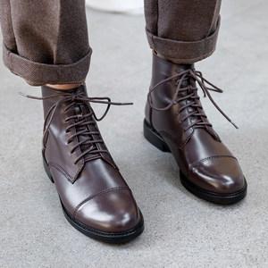 <span class=H>马丁靴</span>女英伦风系带粗跟短靴平底复古机车靴真皮高帮夏季透气靴子