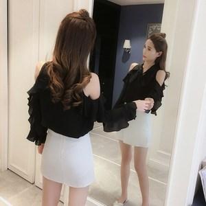 夏季yy网络直播露肩服装美女装主播上镜 衣服性感 上衣小衫女潮