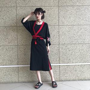 日系复古吊带无袖连衣裙女夏季新款和风修身长款收腰大摆<span class=H>长裙</span>黑色