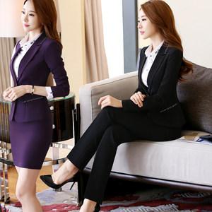酒店工作服秋冬装长袖职业装套装女经理前台服务员美容院空姐制服