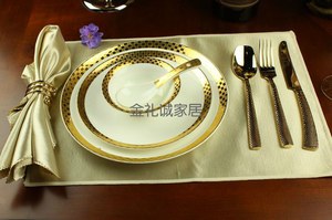 欧式餐厅餐具样板房西餐餐桌金色<span class=H>餐盘</span>西式餐碟套装组合橱柜装饰物