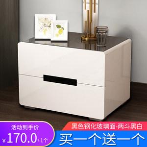 床头柜 简约现代烤漆白色收纳柜卧室床边小<span class=H>柜子</span>欧式储物柜经济型
