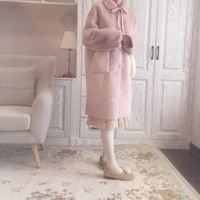 Winter new fur a suit of female medium and long mink fur Korean version thick, loose, thin and cute