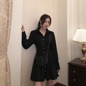 naya定制 秋冬新款复古气质收腰显瘦黑色中长款长袖<span class=H>连衣裙</span>女