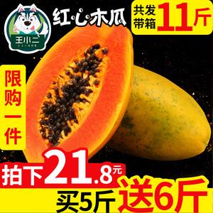 【买1送1】海南红心牛奶木瓜带箱11斤10青木瓜大新鲜水果包邮批发