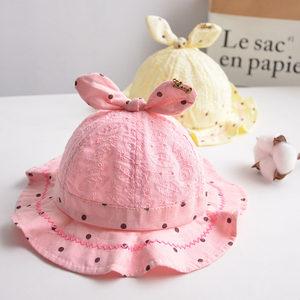 婴儿帽子春夏女宝宝薄款可爱刺绣公主防晒遮阳帽儿童渔夫帽秋防晒