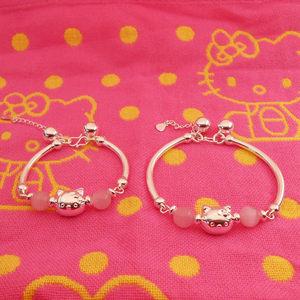 纯银手镯女 儿童hello kitty银镯子可爱卡通凯蒂猫宝宝<span class=H>手链</span>亲子款