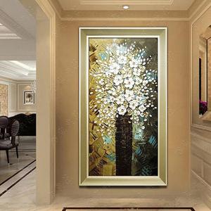 手绘<span class=H>油画</span>发财树立体 客厅玄关挂画走廊装饰画现代 欧式壁画竖版