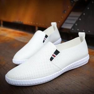 新款板<span class=H>鞋</span>夏季打孔透气休闲<span class=H>男鞋</span>懒人福乐<span class=H>洞洞</span><span class=H>鞋</span>男套脚镂空皮面<span class=H>鞋子</span>