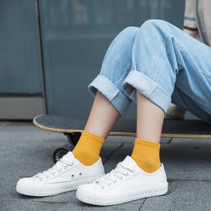 夏季袜子女韩国中筒袜纯棉白色日系学院风潮袜运动学生短袜女袜薄