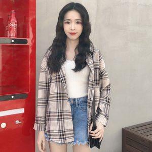 格子衬衫女短款长袖网红同款韩版百搭宽松学生小个子清新外穿<span class=H>衬衣</span>