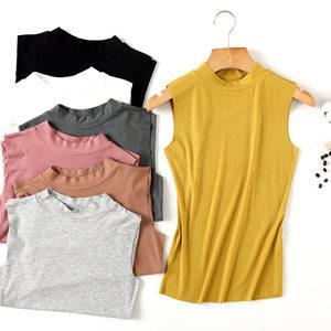 19春夏新款半高领复古<span class=H>背心</span>大码女装无痕莫代尔无袖女士T恤打底衫