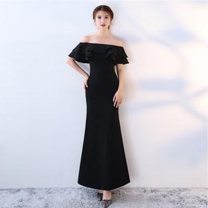 黑色<span class=H>晚礼服</span>女2019新款长款宴会一字肩公司年会主持人礼服聚会修身