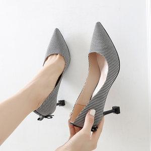 <span class=H>高跟鞋</span>女细跟2018新款蝴蝶结格子尖头千鸟格猫跟秋季礼仪性感单鞋
