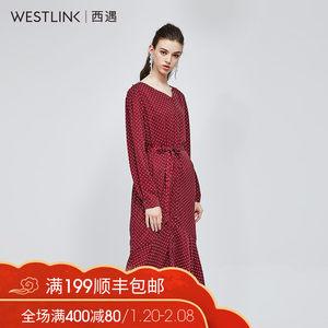西遇女装2018秋款过年衣服长袖复古波点红色<span class=H>连衣裙</span>女长裙11580722