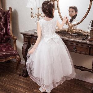 花童<span class=H>婚纱</span>裙礼服女童公主裙儿童白拖尾钢琴演出服蓬蓬主持人走秀夏