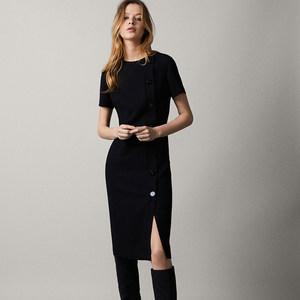 MD女装 春夏新款圆领短袖气质小黑裙简约显瘦中长款黑色<span class=H>连衣裙</span>女