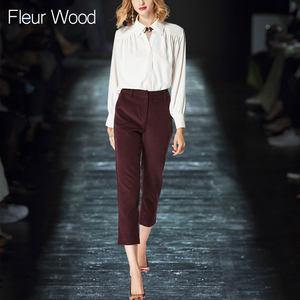 2018秋装新款白色衬衫长袖职业通勤ol<span class=H>小脚裤</span>显瘦气质套装女两件套