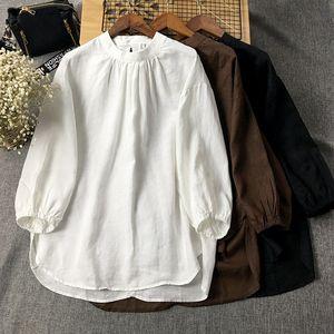 小立领七分袖套头薄款亚麻纯色衬衫女短款宽松春夏文艺棉麻上衣潮