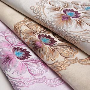 仿真丝提花窗帘面料 欧式手工DIY多花色靠垫抱枕布沙发